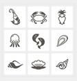 sea food icons set vector image