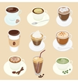 set different coffee cup and many kinds vector image vector image