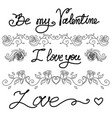 set of vintage vignettes and hand drawn romantic vector image