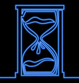 single continuous line hourglass neon concept vector image