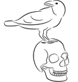 Skull and raven vector image