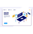 social media isometric concept people follow vector image vector image
