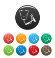 stethoscope hammer icons set color vector image