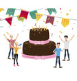 the company of young people celebrates with a cake vector image