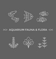 thin line icons - aquarium flora and fauna vector image vector image
