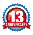 Thirteen years anniversary badge with red ribbon vector image vector image