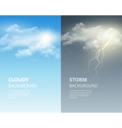 Thunder and lightning sun and clouds Weather vector image vector image