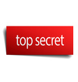 top secret red paper sign on white background vector image vector image