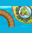 top view park with fish in pond vector image