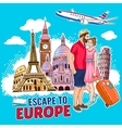 Travel Around Europe Design vector image