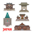 travel landmarks japan thin line buildings vector image