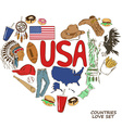 USA symbols in heart shape concept vector image vector image