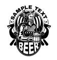 Viking with a mug of beer vector image vector image