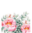 watercolor greeting card with flowers and berries vector image vector image