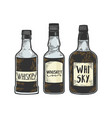 whiskey bottles sketch engraving vector image vector image