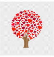 wood with hearts transparent background vector image vector image