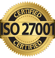 ISO 27001 certified golden label vector image