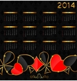 2014 new year calendar in poker theme vector image vector image