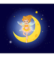 A fairy at the sky near the moon vector image vector image