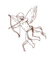 adorable cupid with bow aiming or shooting arrow vector image