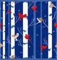 bird seamless pattern red cardinal and robin vector image