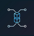 blockchain bright outline icon on dark vector image vector image