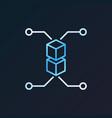 blockchain bright outline icon on dark vector image