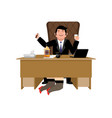 boss relax with whiskey and secretary businessman vector image vector image