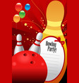 bowling party invitation template vector image