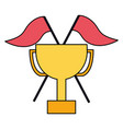 business trophy flags on white background vector image vector image