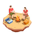 campfire outing isometric composition vector image vector image