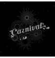 carnival and light rays or fireworks label vector image