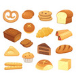 cartoon bread icon breads and rolls french roll vector image
