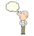 cartoon old man with folded arms with thought vector image vector image