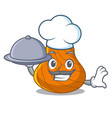 chef with food hard shell mascot cartoon vector image