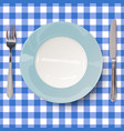 close up view empty dish in blue design vector image