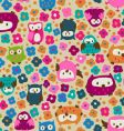 Cute owls and ditsy flowers vector | Price: 1 Credit (USD $1)