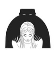 depressed woman with lowered head and black vector image