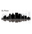 el paso texas city skyline silhouette with black vector image vector image