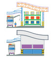factory building cross section warehouse vector image vector image