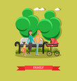 flat happy family walking vector image