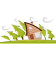 flat scene with house and fir trees blowing vector image
