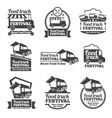 Food truck festival emblems and logos set vector image