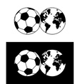 Globe and soccer ball composition vector image
