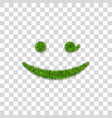 green grass wink smile 3d smiley grassy emoticon vector image