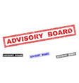 grunge advisory board scratched rectangle stamp vector image vector image