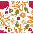 hand drawing colored floral seamless pattern vector image vector image
