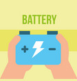 hand holding accumulator battery energy power vector image