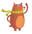 happy cartoon brown bear vector image vector image