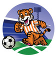 happy tiger kid playing soccer vector image vector image